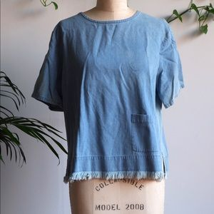 VINTAGE Cotton Denim Festival Fringe Tunic Top